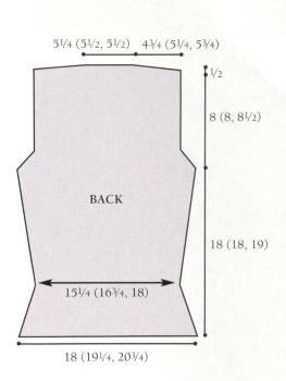 cardigan back diagram